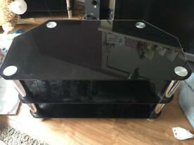 Black, Glass TV Stand