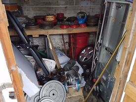 Over 200kg of Cast Iron Weight Plates - York etc Plus Bars & a Bench - Will Split