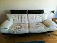 White and black leather sofa