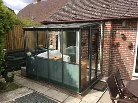 Aluminium framed sunroom approx size 9 foot x 6 foot Ideal for lean-to greenhouse.