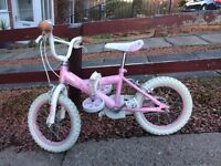 Girls Bicycle Small Suitable Ages 2 ~ 5 ( Stabilisers Included )
