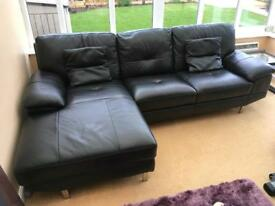 Black Leather Chaise Longue Sofa