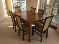 Double Extending Walnut Dining Table with 6 chairs