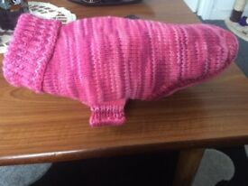 New hand knitted warm dog sweater, 100% acrylic, would suit a small dog