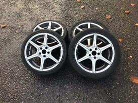 "Wolfrace alloys 17"" 2 sets of tyres"