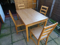 TABLE & 4 CHAIRS 46X30 INCH SIZE IKEA MAKE.
