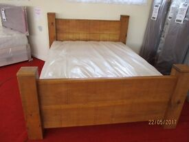 Handmade Reclaimed Pine King Size Bed with New Edinburgh Mattress.