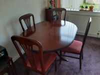 2 x Leather Settee, Foot Stool, Dining Room Table and Chairs, Sony TV, Samsung TV, White Cabinet