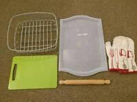 Ikea tray, dish rack, chopping board, rolling pin
