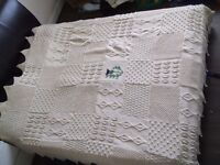 Stunning woollen bed throw, with 'thistle' motif. Kingsize. Very heavy and cosy.
