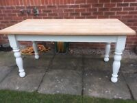 Chunky solid heavy Farmhouse Table-Refurbished & Painted