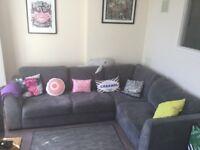 Large corner sofa. Blue/grey. Scotch guarded. Excellent condition.