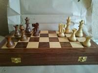 Hand Made Wooden Chess Set - Brand New