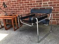 Vintage WASSILY ARMCHAIR Bauhaus Leather Steel Marcel Breuer Mid Century Retro