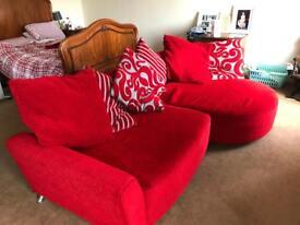 Red corner sofa