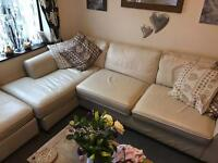 Marks and Spencers cream leather corner sofa