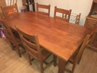 Dining Table & 6 chairs. Solid Rubberwood