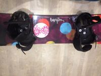 Burton Feather snowboard, bag and bindings