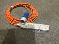 Tent electric hook up cable with site plug and 4way 13amp UK Socket brand new 10m long