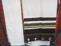 Embroidered voile lined ring top curtains 66x72 £10