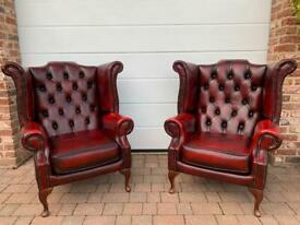 2x Oxblood Chesterfield Leather Wingback Chairs