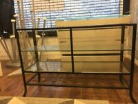 Metal framed Glass Shelved Retail display Unit With Floral Pattern - 2 available (Shop Clearance)