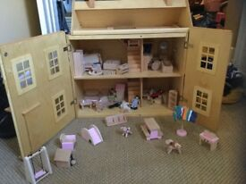 Dolls House with family, pets and furniture