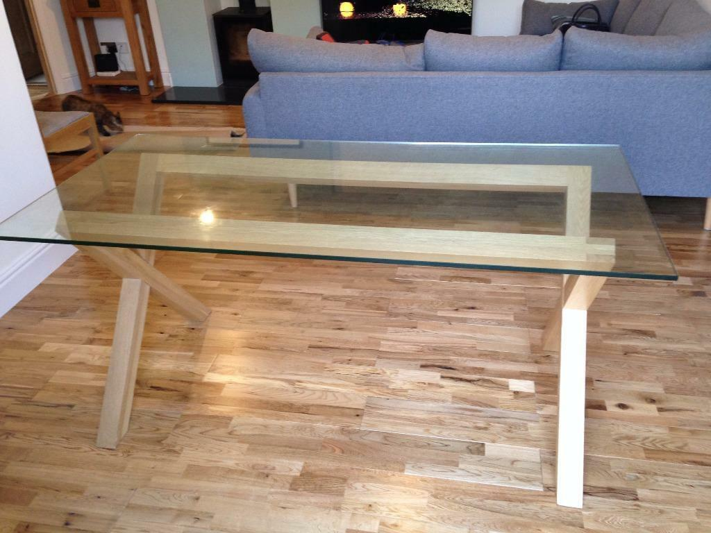 Habitat dublin 4 seater oak glass dining table in diss norfolk habitat dublin 4 seater oak glass dining table dzzzfo