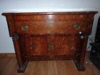 Antique mahogany sideboard with one drawer and two doors underneath