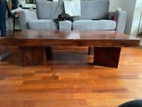 Solid dark wood large coffee table