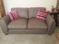 SIS-Italia large 2 seater sofa and Tilt & Swivel Chair in Taupe Leather
