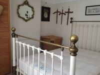 "GENUINE VICTORIAN ANTIQUE WROUGHT IRON 4' 6"" METAL BED, ORIGINAL CONDITION, NOT A REPRODUCTION"