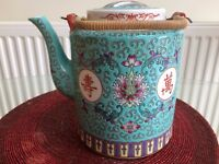 LOVELY CHINESE ORIENTAL TEA POT WITH THERMAL BASKET, VIBRANT COLOURS, NO CHIPS OR CRACKS