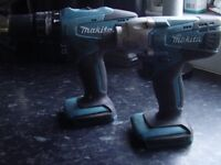 2 x body only makita 18v cordless drills