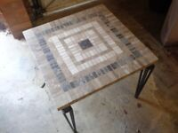 TWO IDENTICAL COFFEE TABLES - MOSAIC TOP/WROUGHT IRON BASE