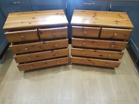 x2 PINE 5 DRAWER CHEST OF DRAWERS