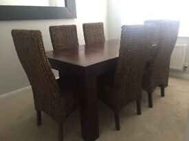 Dark Mango dining table and chairs