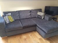 4 seater, right hand facing, chaise end sofa, grey fabric, L shape. H88cm W227cm D95-158cm