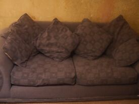 Large blue 3 seater sofa with 6 matching cushions