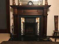 Vintage Cast Iron Tiled Fireplace with Mahogany Surround