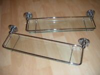 ** X2 Bathroom Chrome & Glass Shelves **