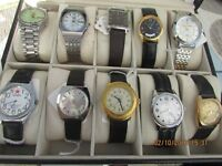 vintage quartz and manual wind wrist watches 10 in a case