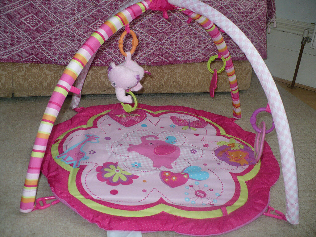 Bright Starts Baby Play Mat Gym Pink with 6 Activity Toys. Very good clean condition.