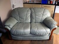 2-seater Green Leather Sofa