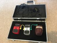 Guitar pedal board carry case with pedals multi power adapter and patch cables. Digital delay +more