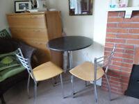 Circular Black Granite Bistro Table plus two chairs
