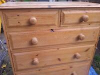 2+3 chest of pine drawers