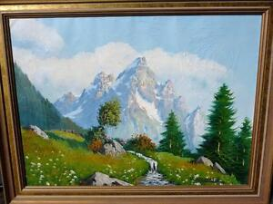 "C. Cosalini ""Alpine Mountain"" Oil Painting"