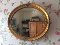 Old gold antique style oval mirror