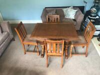 Vintage Edwardian Solid Oak Draw Leaf Extending Dining Room Table and 4 Carved Solid Oak Chairs R146